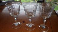 Meridien Crystal Claret Wine Glasses 3 7 oz elegant stems Christal d'arques NIB