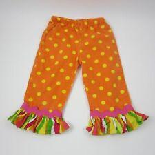 Bizi Bodi Girls Pants Polka Dots Ruffled Ankle Boutiqye Style Orange Yellow Sz 5