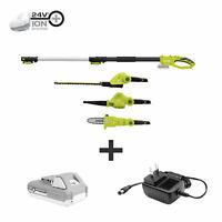Sun Joe Cordless Lawn Care System | Hedge Trimmer | Pole Saw | Leaf Blower