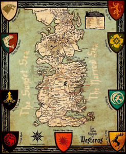 Game Of Thrones Houses Map Westeros Art Home Decor Silk Poster 24x36inch