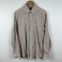 Ermenegildo Zegna Mens Button Up Shirt Size Large Long Sleeve Brown White Stripe