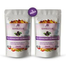 (2 Pack) Elderberry Gummies Sambucus Immune Support Vitamin C & Zinc