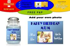 PERSONALISED BIRTHDAY YANKEE CANDLE JAR LABEL STICKER ADD YOUR OWN PHOTO