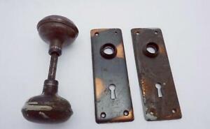Antique Brass Copper Single Door Handle 2 Plates 24985