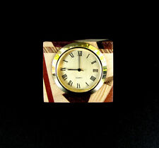 HANDCRAFTED ONE OF A KIND LAMINATED EXOTIC WOOD DESK SHELF CLOCK,CL-17