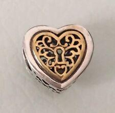 Pendientes de plata esterlina corazón amor bloqueada con encanto para pulseras y collar de oro
