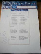 29/01/2000 Colour Teamsheet: Crystal Palace v Huddersfield Town (Folded, Team Ch
