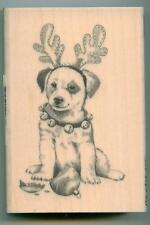 Inkadinkado rubber stamp Holiday Reindeer Puppy wood mounted, Christmas