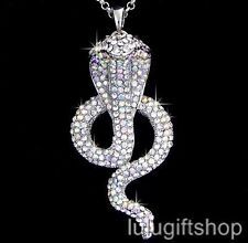 18K WHITE GOLD PLATED 3D COBRA SNAKE PENDANT NECKLACE USE SWAROVSKI CRYSTALS