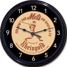 "Rheingold NY Mets Baseball Beer Coaster Wall Clock Radio TV  MLB Citi Shea 10"""