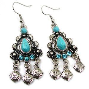 New Turquoise Silver Black Vintage Style Chandelier Dangle Earrings