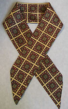 PSYCHEDELIC RED CREAM CIRCLES PATTERNED VINTAGE CRAVAT SCARF 60S 70S MOD DANDY