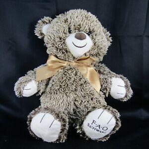 F A O Schwarz Plush Teddy Bear 16 Inches Brown Cream Variegated Fur Logo Paw