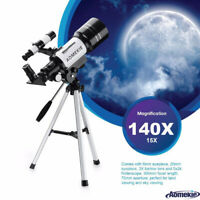 AOMEKIE Portable 70mm Refractor Telescope Optical Lens - 300x70mm For Kids Gifts