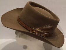 Akubra Brown Pure Fur Felt Dallas Cowboy Hat Sz 57 Feather Made In Australia