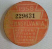 1958 Pa Pennsylvania Resident Fishing License Button
