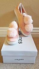 New J / SLIDES Light Pastel Pink Satin Faux Fur Pom Pom Cash Sneakers size 8