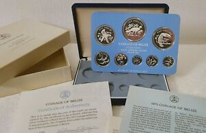 1975 Belize 8-Coin ALL Sterling Silver Proof Set w/ COA Franklin Mint