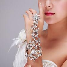 Luxury Bridal Party Rhinestone Crystal Chain Link Ring Bracelet Wristband Bangle