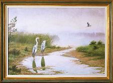 Karl Ewald Olszewski 1884-1965: Fischreiher am Schilfufer Ölgemälde 70 x 100 cm