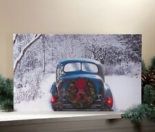 New Country Vintage CHRISTMAS ANTIQUE BLUE CAR Lighted Picture Wall Hanging
