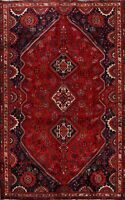 Vintage Tribal Geometric Abadeh Wool Area Rug Hand-Knotted Oriental Carpet 7x11