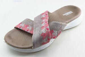 Skechers Goga Max Size 9 M Gray Slides Fabric Women Sandal Shoes