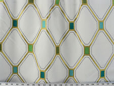 Drapery Upholstery Fabric Stitched Marquis Diamond Embroidered Boarder - Gold