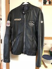 Mens Armani Jeans leather jacket Motorcycle jacket 30th Anniversary