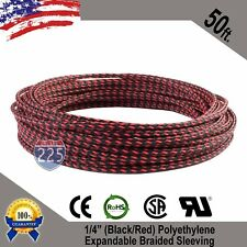 "50 Ft 1/4"" Black Red Expandable Wire Sleeving Sheathing Braided Loom Tubing Us"