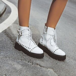 Womens Punk Gothic Ankle Boots Round Toe Rivet Zip Chunky Heel Lace Up Plus Shoe