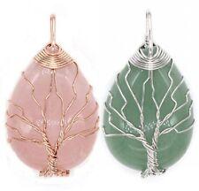 Natural Healing Crystal Quartz Tree Of Life Chakra Pointed Drop Gemstone Pendant