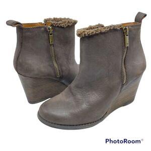 Lucky Brand Women's 6 Brown Leather Fur Double zip Wedge Ankle Bootie LP-Yorque
