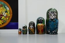 Russian Cat, Cats stacking dolls matryoshka nesting babushka dolls set of 5 pcs