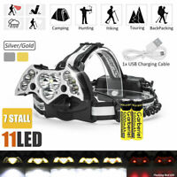 200000LM 11x T6 LED Headlamp USB Rechargeable 18650 Headlight Torch Lamp+Battery