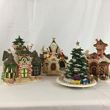 4 Piece Christmas Disney Village Candy & Toy Shops Town Hall Tree Ceramic Lights