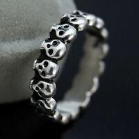 Vintage Gothic Skull Ring Biker Mens Black Punk Stainless Steel Ring US Size 7-9