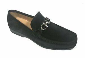 NEW SALVATORE FERRAGAMO Black Suede Classic Gancini Bit Mens Shoe 7 UK 8 US