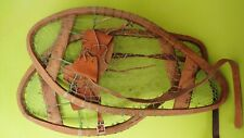 """Vintage Wooden Bear Paw Snowshoes Faber Snowshoes 24""""x13"""" Leather Bindings"""