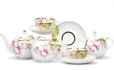 Russian Porcelain Tea set Dulevo 6 pers 15 pc Kuznetsov Porcelain June Flowers
