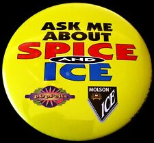 1995 MOLSON ICE Beer Button Pin 3 inches/7.6 centimeters Diameter New