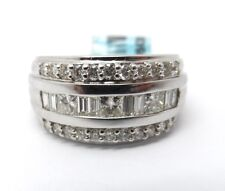 WIDE 18K WHITE GOLD PRINCESS CUT/BAGUETTE/ROUND DIAMOND RING
