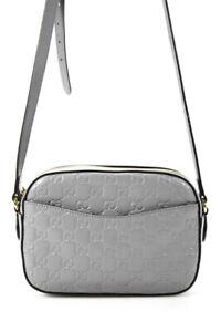 Gucci Womens Small Signature Embossed Monogram Camera Bag Handbag Gray