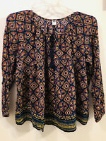 Woman's OLD NAVY Long Sleeve Tie Front Peasant Boho Blouse Top Blue Multi Large