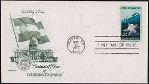 USA 1977 Colorado Statehood Centennial FDC unaddressed @D2725