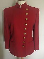 Lauren Ralph Lauren Red Military Style Pure Wool Blazer / Jacket Uk10 US6 Vgc