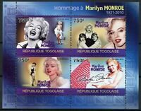 Togo Marilyn Monroe Stamps 2010 MNH Famous People Celebrities 4v M/S