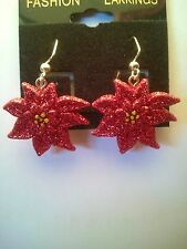 Poinsettia Christmas Glittery Dangle Earring (quarter size)