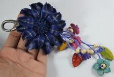 Navy Dark Blue Craft Genuine Leather Keychain Floral Flower Handbag Purse Charm