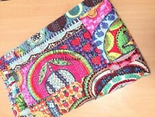 Indian Hand Block Floral Print Kantha Quilt Cotton Bedspread Twin Size Multicolr